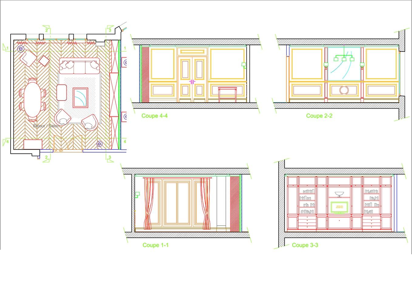 Plan Séjour conception de mobilier & maîtrise d'œuvre avec Agencement Concept Group